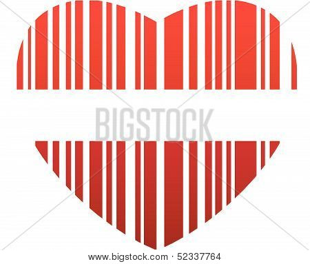 Heart with red stripes- valentine bar code