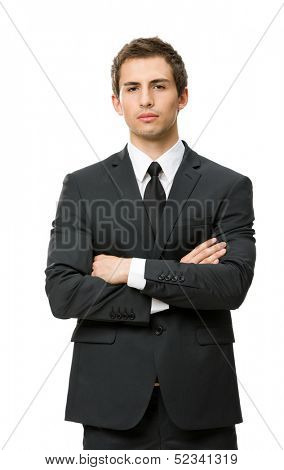 Half-length portrait of business man with crossed hands, isolated on white background. Concept of leadership and success