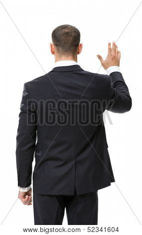 Backview of businessman waving hand, isolated on white