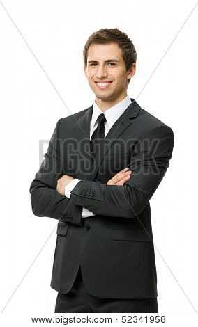 Half-length portrait of business man with crossed hands, isolated. Concept of leadership and success