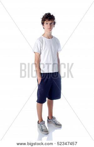 Cute Teeange Boy Standing On White Background