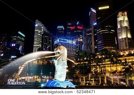 Merlion Park at Night, Singapore