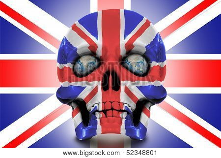 Human Skull Against The Union Jack.