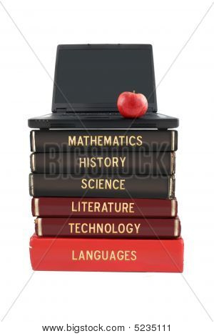 School Subject Books And Laptop