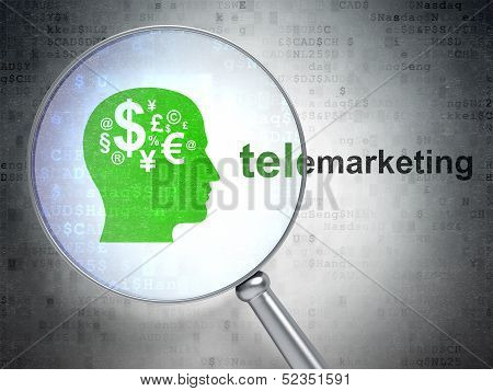 Marketing concept: Head With Finance Symbol and Telemarketing wi