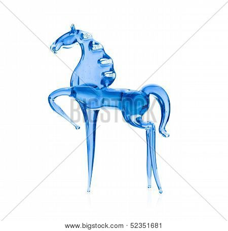 Horse Out Of The Blue Glass, Isolated On White Background