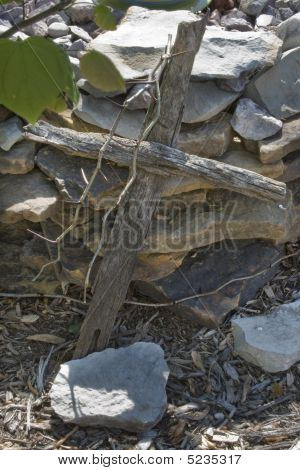 Wooden Cross With Thorns