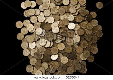 Pile Of Cooper Coins Isolated On Black