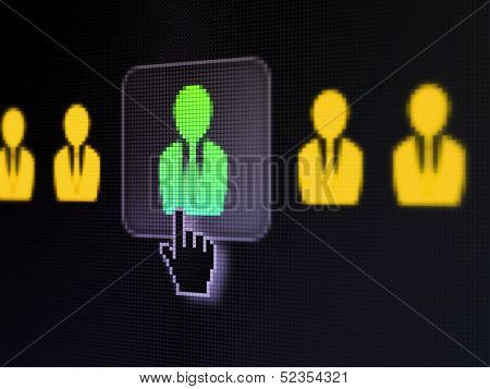 Business concept: Business Man on digital computer screen