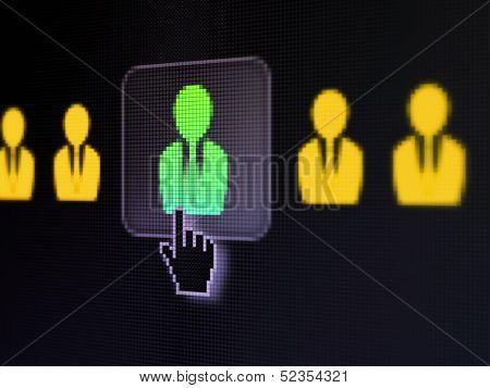 Business concept: Business Man on digital computer screen