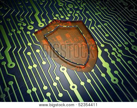 Security concept: Shield on circuit board background