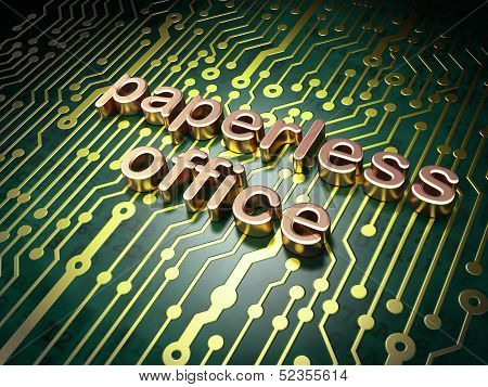 Finance concept: Paperless Office on circuit board background
