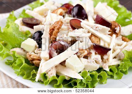 Waldorf salad on a plate