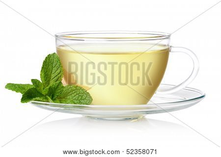 Cup of green tea with mint on a white background