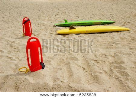 Lifeguard's Gear On The Beach