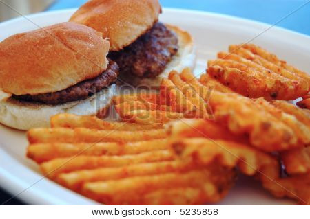 Mini Burgers With Wavy Fries
