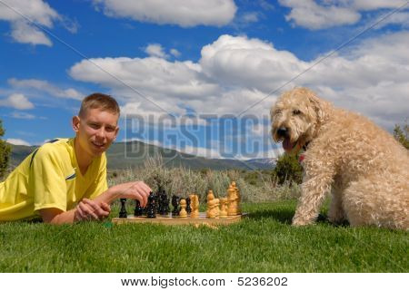 Teen Plays Chess With Dog