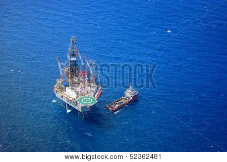 The Offshore Drilling Oil Rig Top View From Aircraft.