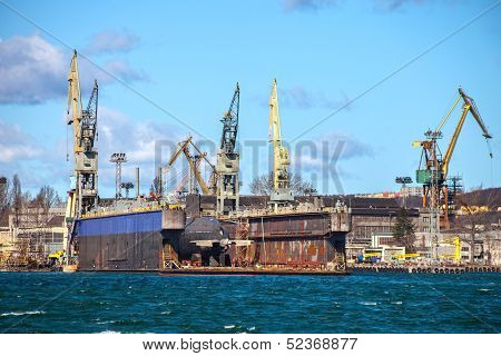 Submarine Ship In Dry Dock
