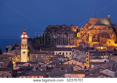 Kerkyra Town In Corfu By Night