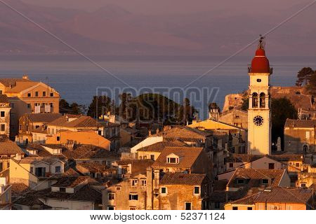 Kerkyra Town In Corfu At Sunset