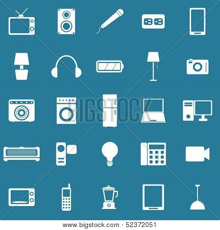 Electrical Machine Icons On Blue Background