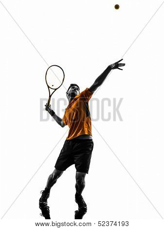 one  man tennis player at service serving silhouette in silhouette on white background