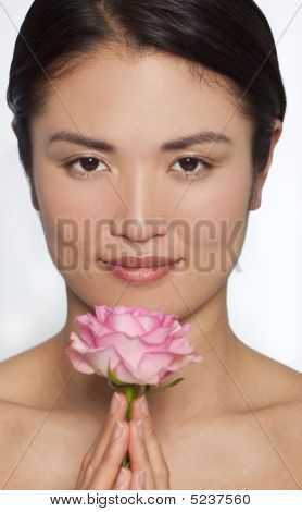 Japanese Woman With Pink A Rose