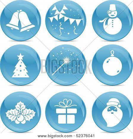 Chrismas Icons On Blue Balls
