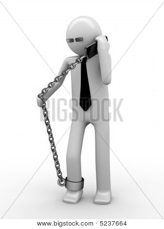 Hot Phone Line! Man Chained With Mobile Phone 2