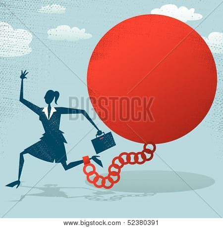 Abstract Businesswoman locked in a Ball and Chain.