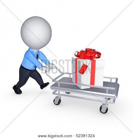 3d small person with giftbox on pushcart.