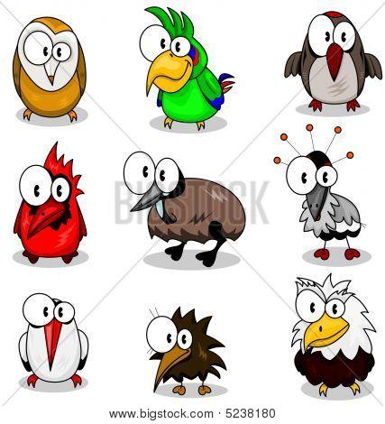 Colección de dibujos animados de aves