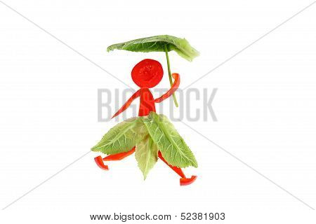 Healthy Eating. Little Funny Woman Made of Pepper.