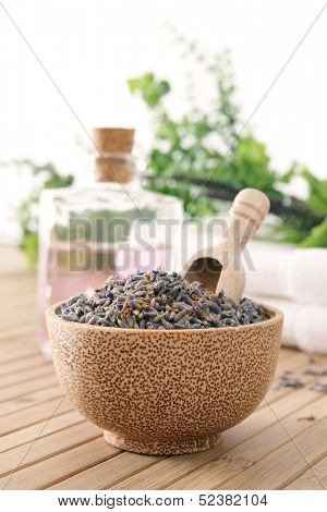 Lavender with wooden spoon in a bowl