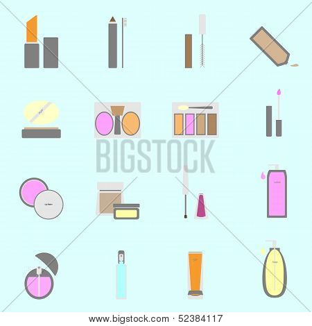 Cosmetic Color Icons On Light Background