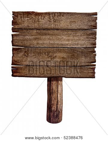Wooden sign board. Old post panel made from wood.