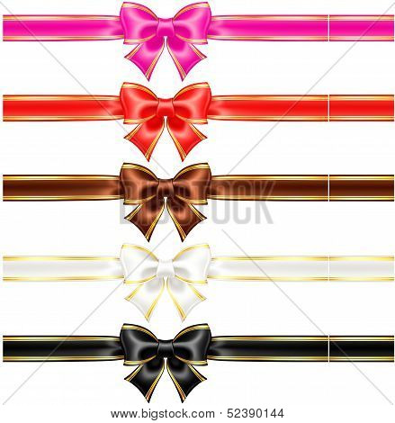 Bows With Edging And Ribbons In Warm Colors