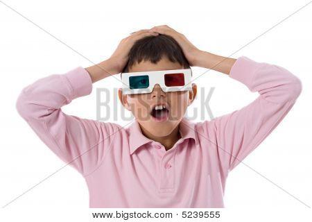 Gafas 3D de la pizca de niño