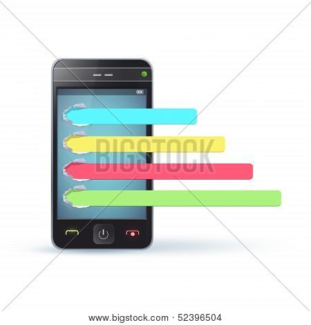 Realistic Phone With Colorful Select Button. Vector Illustration.