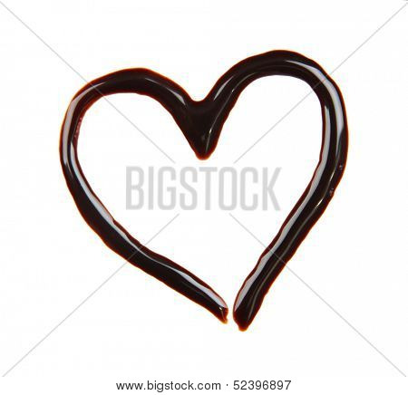 Heart made from chocolate syrup, isolated on  white