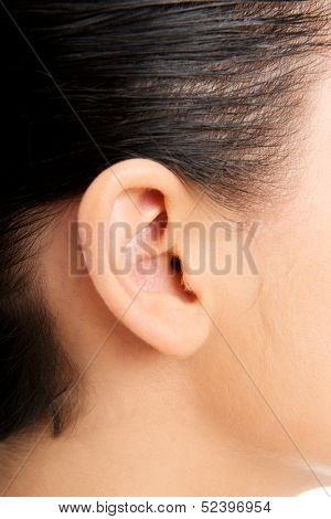 Young woman ear closeup
