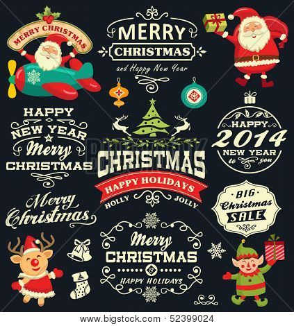 Christmas and New Year labels, icons and elements vector collection
