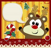 stock photo of rudolph  - cute baby rudolph with dialog bubble text and christmas decoration - JPG