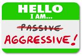 A green nametag with the words Hello I Am Aggressive and the word Passive crossed out