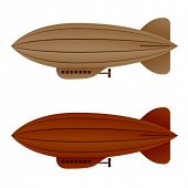 picture of float-plane  - vector brown vintage airship zeppelin - JPG