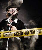 picture of crime solving  - detective smoking pipe at murder investigation crime scene - JPG