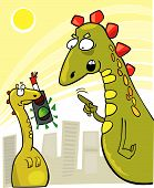 stock photo of godzilla  - cartoon vector illustration of rude young godzilla and his mother reproof - JPG