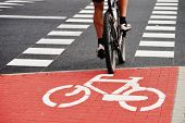 stock photo of bike path  - Bicycle road sign and bike rider  - JPG