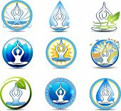 stock photo of chiropractic  - Beautiful yoga relaxation symbols - JPG